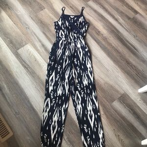 Pants - Navy and White Ikat Jumpsuit